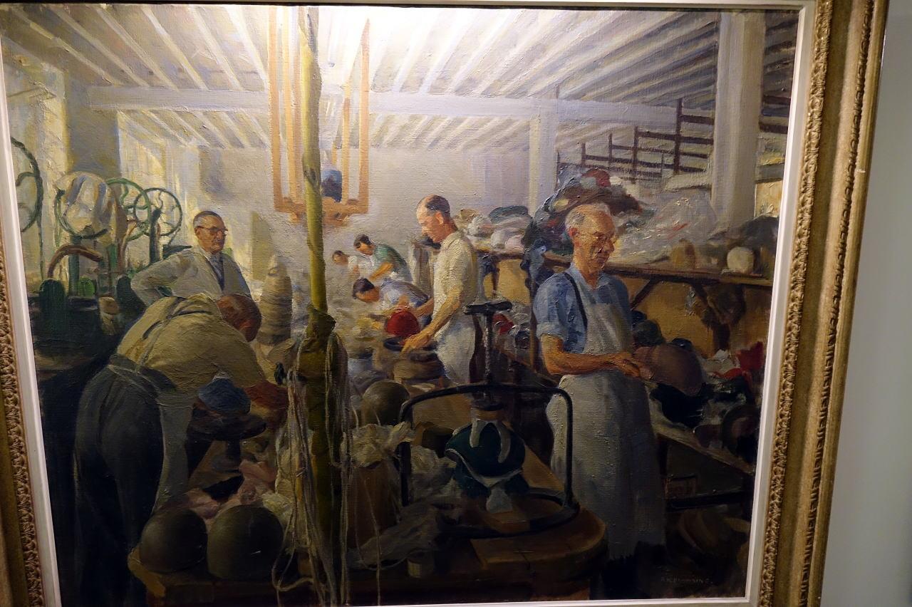 The factory Oil Paint ストックポート帽子博物館の以前の工場 フェルト型入れ作業風景